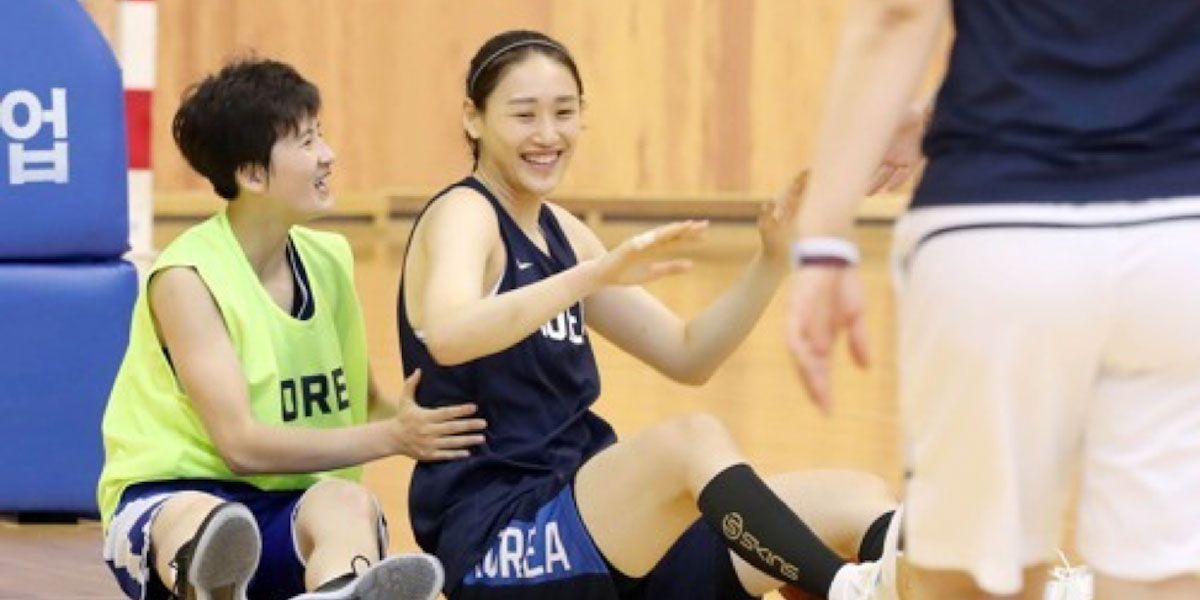 South and North Korea Basketball Players Team Ip for Asian Games